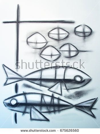 Hand Drawn Illustration Or Charcoal Drawing Of The Christian Symbol