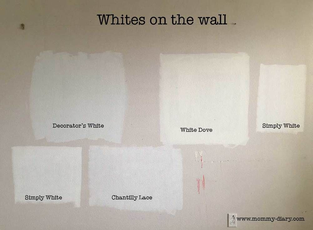 Simply white vs chantilly lace benjamin moore paint for Dove white paint color