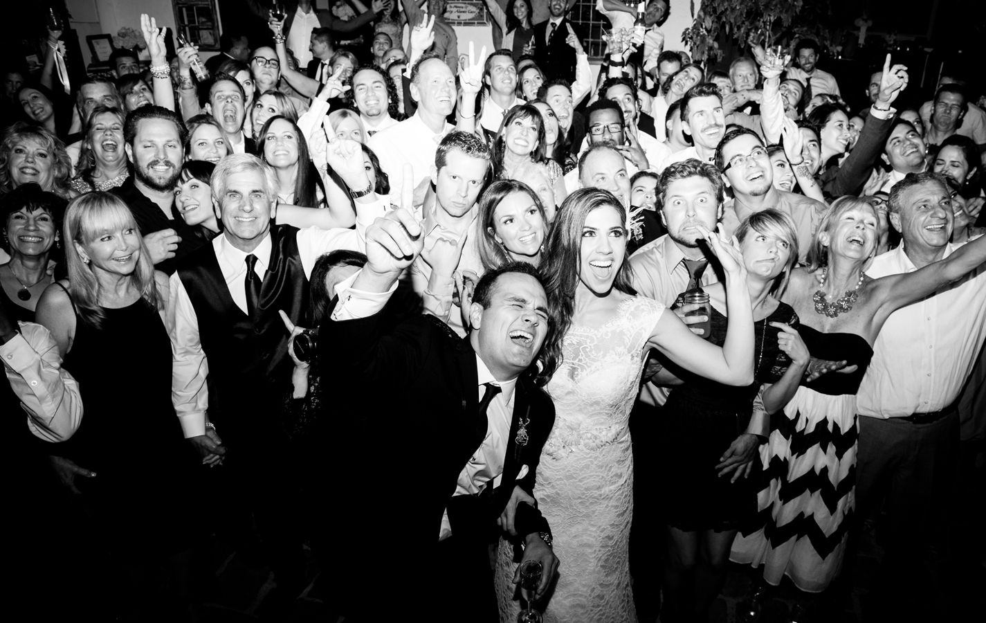www.ostaraphotography.com, ©Ostara Photography, San Juan Capistrano, The Villa in San Juan Capistrano, Spanish Style Wedding, group shot, dance party, outdoor reception, bride and groom, wedding party, weddings guests