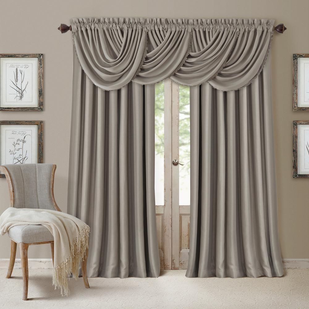 Elrene All Seasons Blackout Window Curtain 026865854152 The Home Depot Curtains Elrene Home Fashions Waterfall Valance