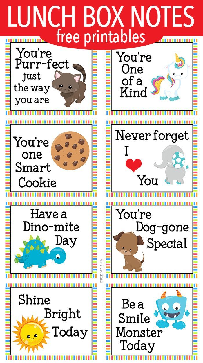 image about Printable Lunch Notes named Serving to Lunch Box Notes for Minimal Small children ALL Variables