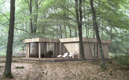 Maison préfabriquée en bois   à ossature bois   contemporain