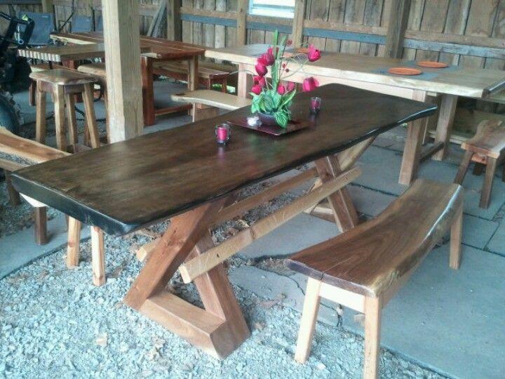 Walnut Triangle Legs Poplar Top 8ft Custom Table Custom