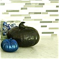 Platinum pumpkins: sapphire and black metallic. Made by Teri Rees Wang for House of Holland, Hollywood.  Halloween 2011.