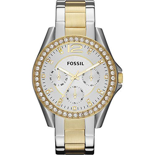 70ddf894522 USE  Fossil Womens ES3204 Riley Silver and Gold Tone Watch