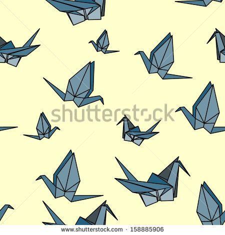 Origami Crane Vector Seamless Pattern