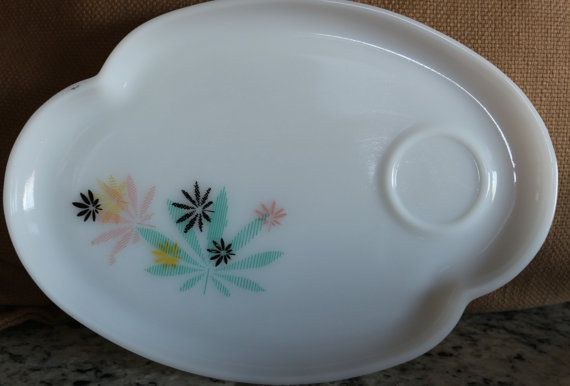 Vintage Milk glass snack trays each plate is approx 10 1/2x 7 1/4 Amazing color flowers on the trays