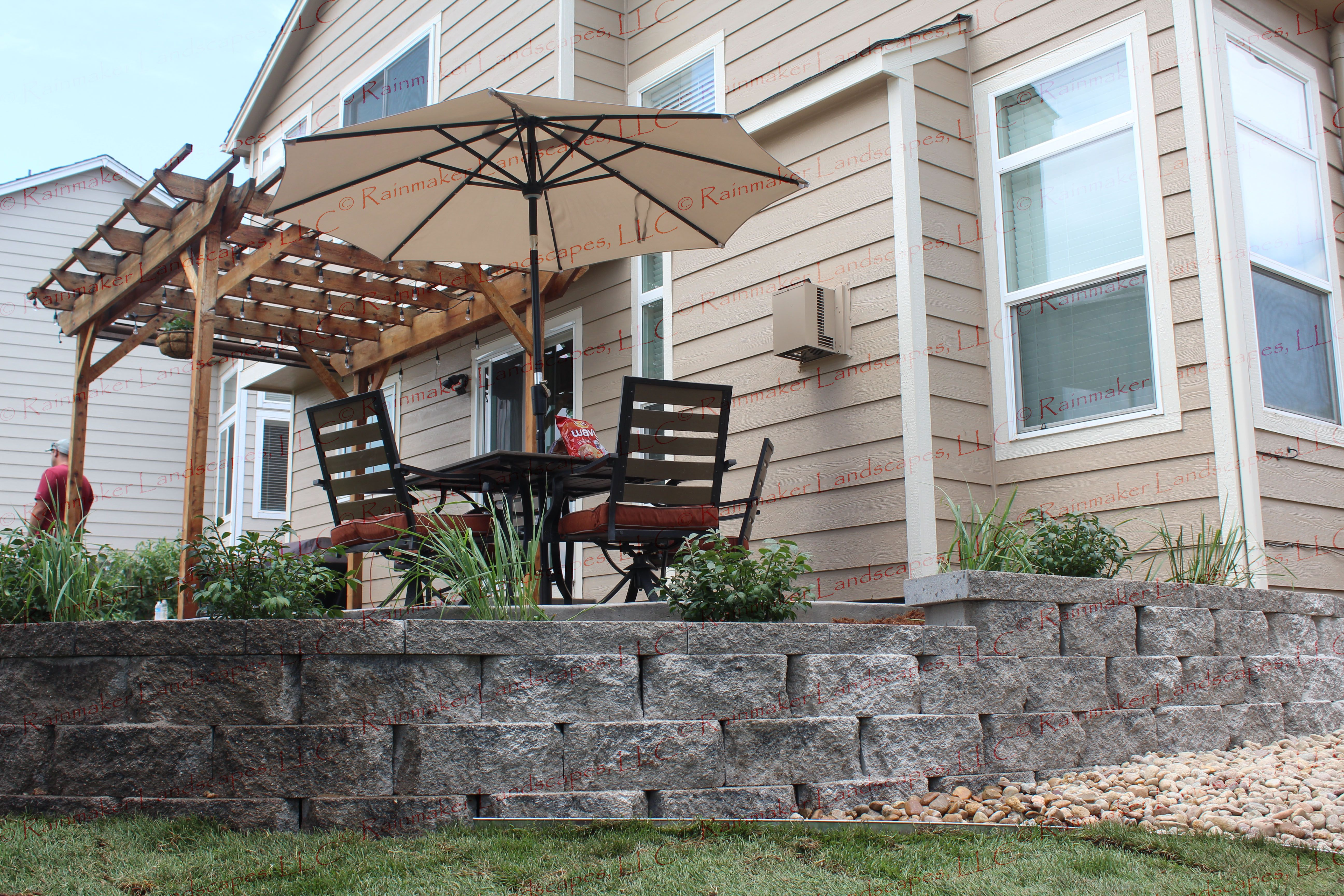 back yard landscape, outdoor living, patio, retaining wall ... on Fancy Outdoor Living id=67229