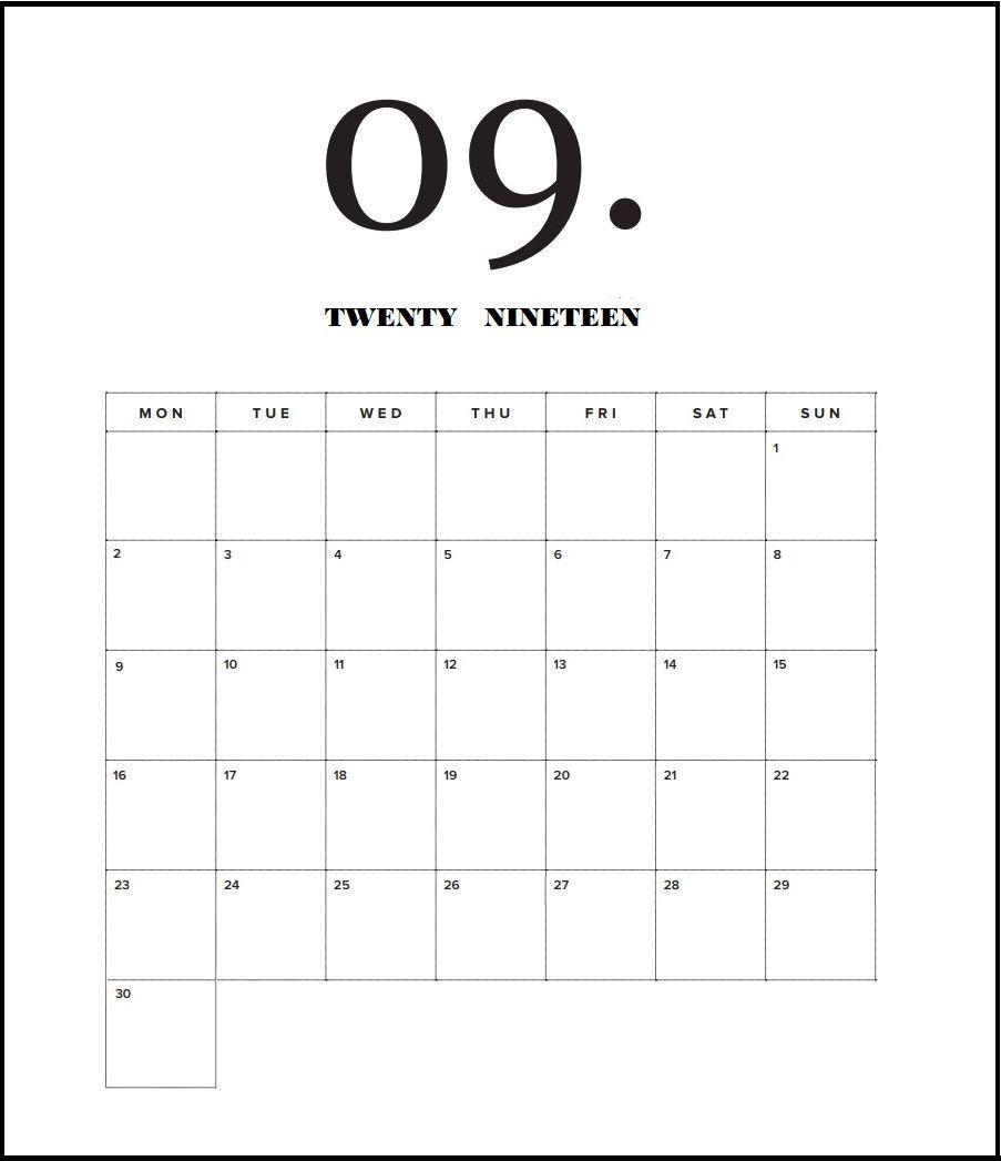 September 2019 Calendar In Pdf Word Excel Printable Template