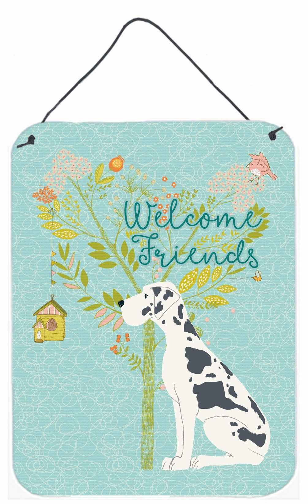 Welcome friends harlequin great dane wall or door hanging prints