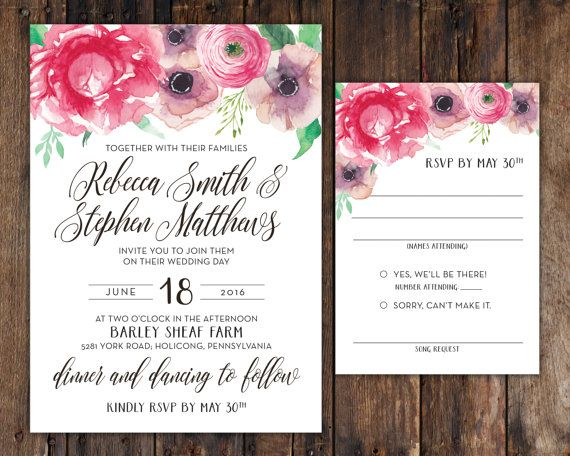 Print at Home Watercolor Pink Peony Wedding Invitation (5 - invitation unveiling