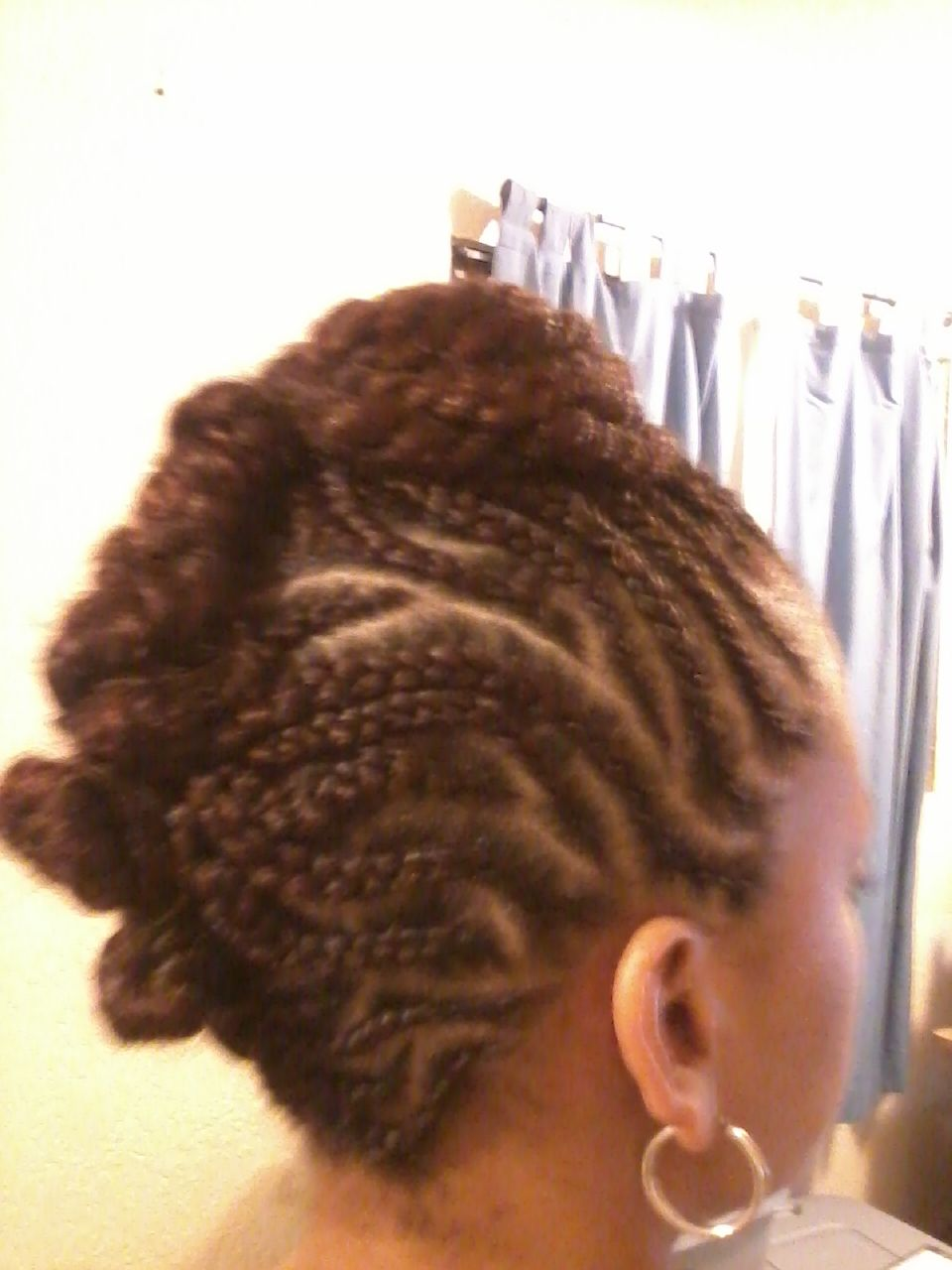 Braids Into A Twisted Rolled Bun Done On All Natural Hair But Can Be Done If Hair Is Permed Style Natural Braided Hairstyles Hair Styles Braided Hairstyles