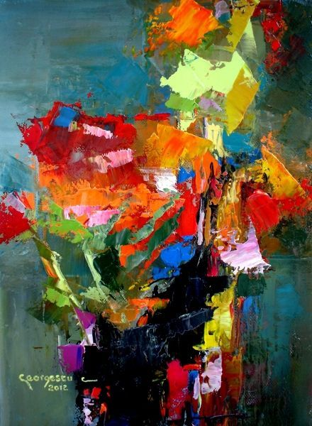 Carmel Georgescu mixed media painting of flowers.