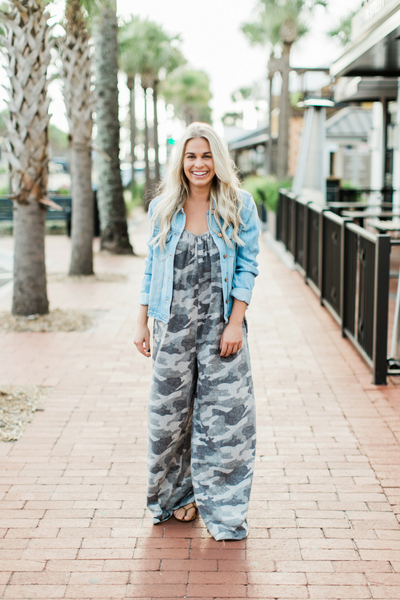 37a4df862e4e7 Casual Camo Jumpsuit with our lightweight jean jacket //Fig & Willow,  fashion, boutique, clothing, affordable, style, woman's fashion, women  fashion, ...