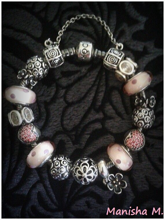 86cf0ae90 PANDORA Pretty in Pink Bracelet. With Pink Pave Heart Clips and Pink Polka  Dot Murano.