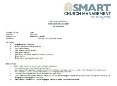 Church Forms And Job Descriptions Smart Church Management Volunteer Jobs Church Volunteers Job Description