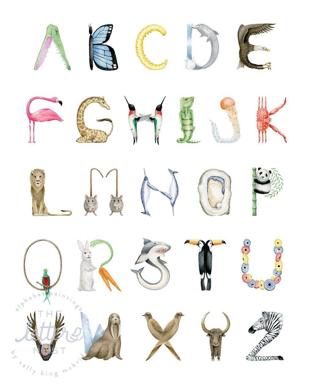 Animal Alphabet Print - Natural Frame (Ships in 2.5 weeks)