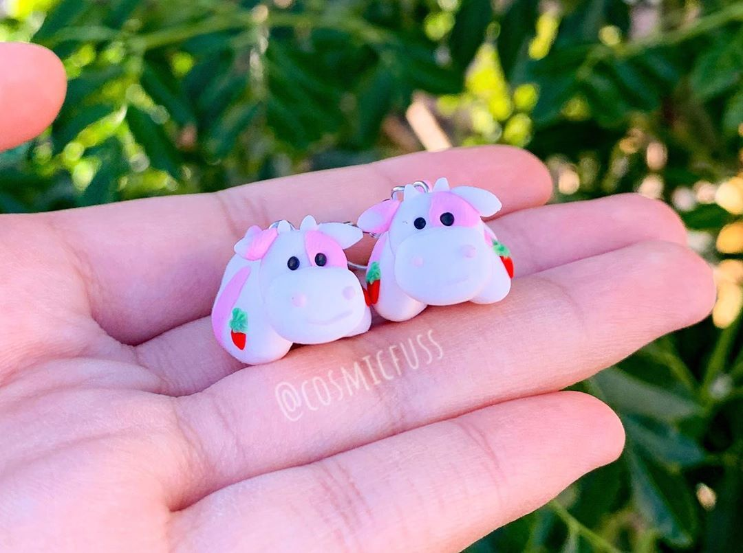 Courtney On Instagram I Made The Popular Strawberry Cow Originalpillowpets As Earrings For A Custom Order What Other Pillow In 2020 Animal Pillows Clay Pillow Cow