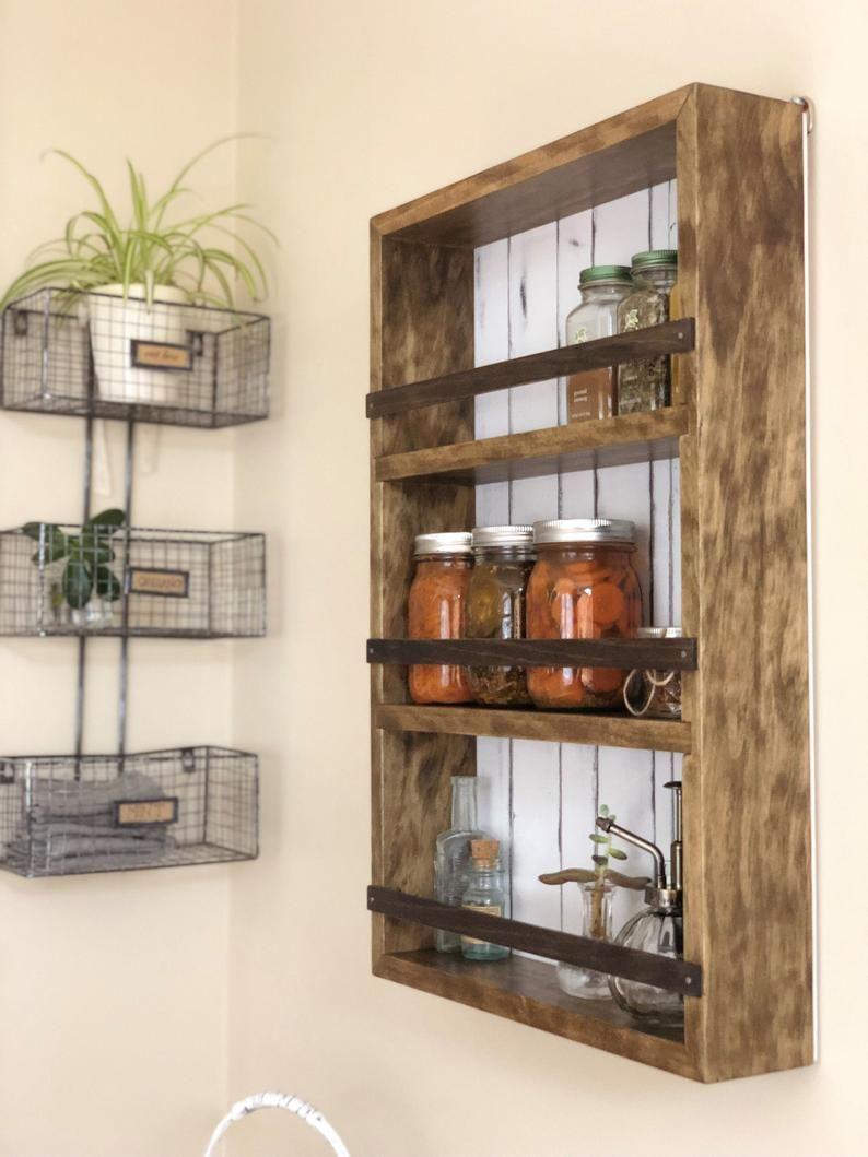 Farmhouse spice rack no 3 bathroom shelves wall