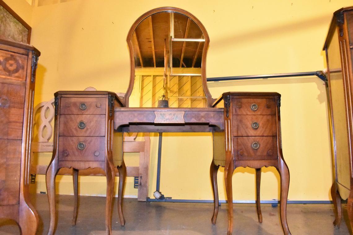 Antique 5 Piece Bedroom Suite Mahogany & Walnut Stencil