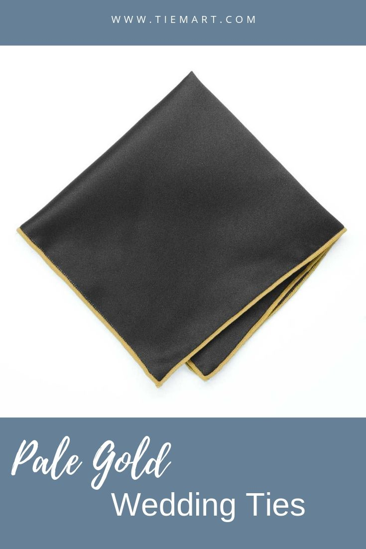 Pale Gold Tipped Black Pocket Square