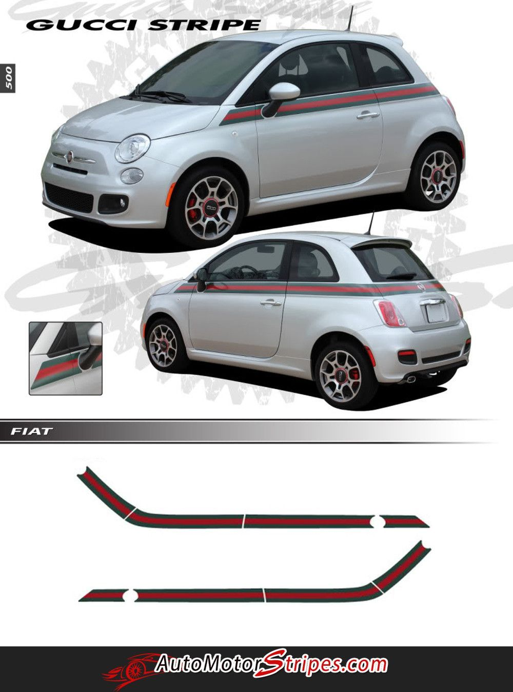 902693e75bb3d Vehicle Specific Style - Fiat 500 Italian Gucci Red Green Flag Upper Door  Accent Vinyl Graphic