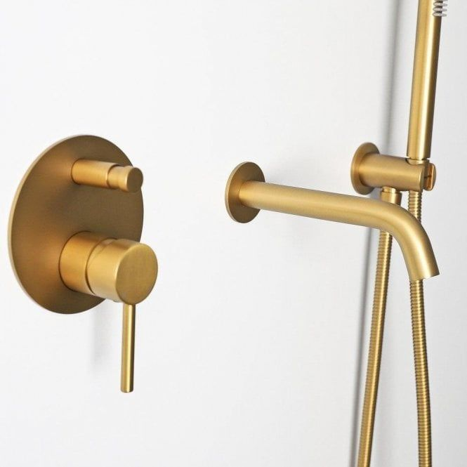 Luxe Brushed Gold Wall Mounted Bath Shower Mixer Tap In 2020 Bath Shower Mixer Taps Shower Mixer Taps Gold Bathroom Fixtures