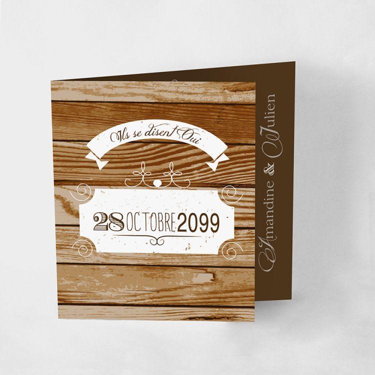 Faire-part mariage Wood classic, bois brun