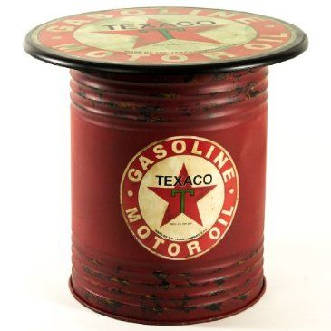 texaco oil can side table. Black Bedroom Furniture Sets. Home Design Ideas