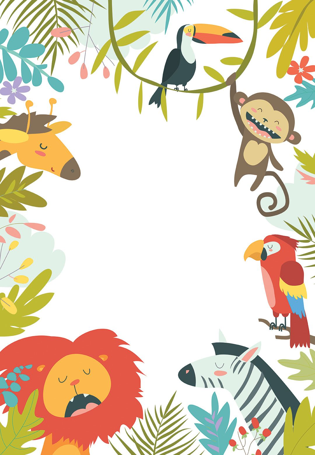 wild animals birthday invitation