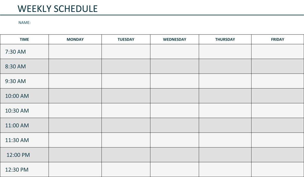 Editable Weekly Schedule Template In Word Schedule Template