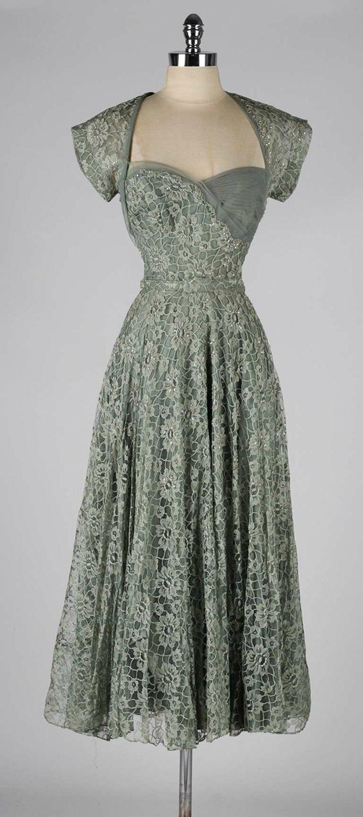 082e438272 Vintage 1940 s Sage Green Lace Cocktail Dress