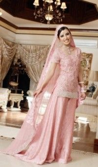 30d34865411d3 Pakistani Bridal Wear Simple Tea Pink Sharara | wedding stuff ...