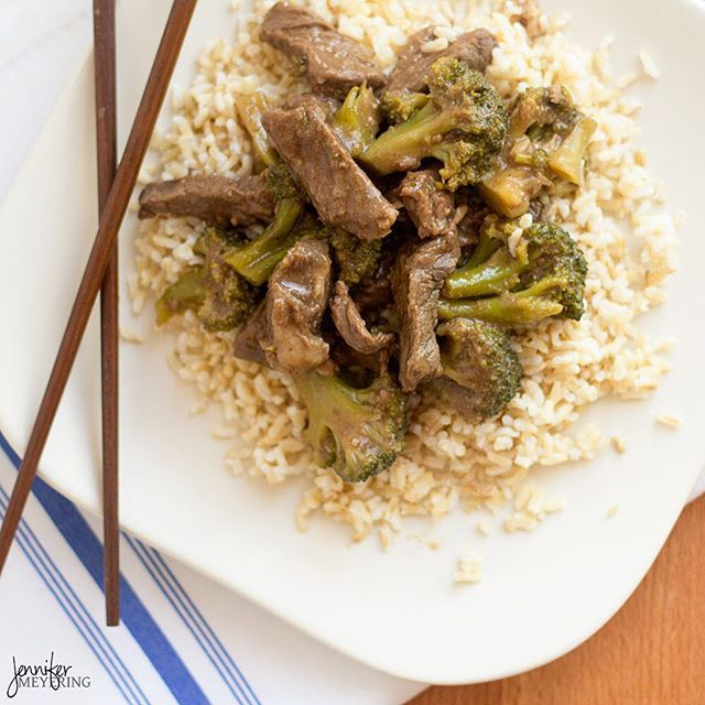 Hubby said he wanted some Chinese for dinner... So I whipped up some beef and broccoli for him!  recipe #ontheblog @ JenniferMeyering.com