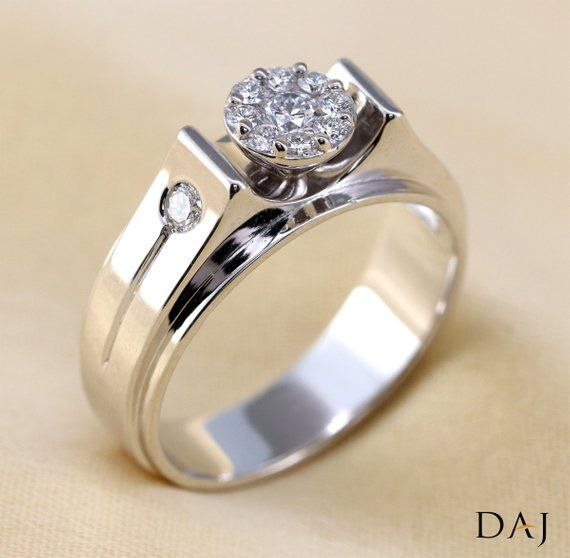 44ab14c47da 0.45 Ct Natural Diamond Mens Ring Solitaire Look 18K White Gold in ...