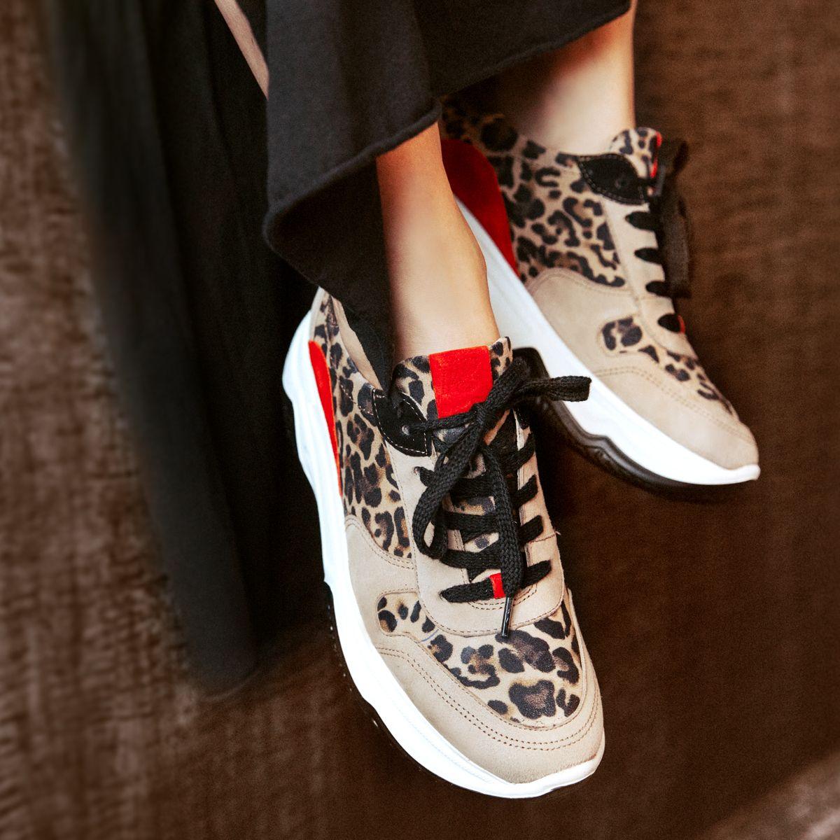 Platform sneaker, beige with leopard print Paul Green in