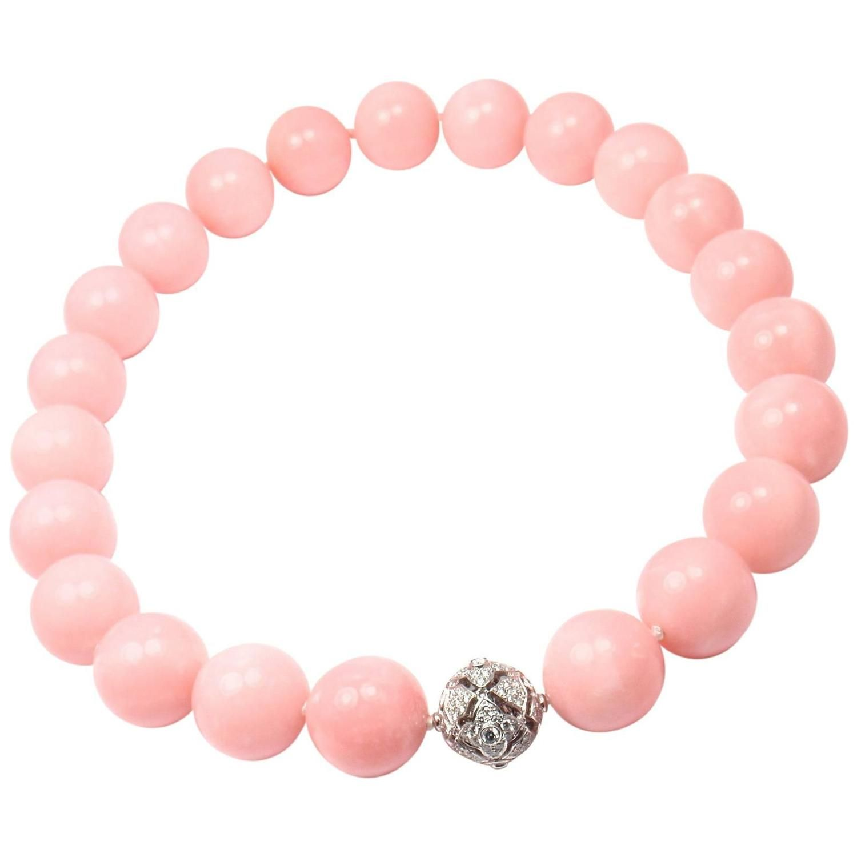 Van Cleef & Arpels Large Pink Opal Diamond Gold Necklace