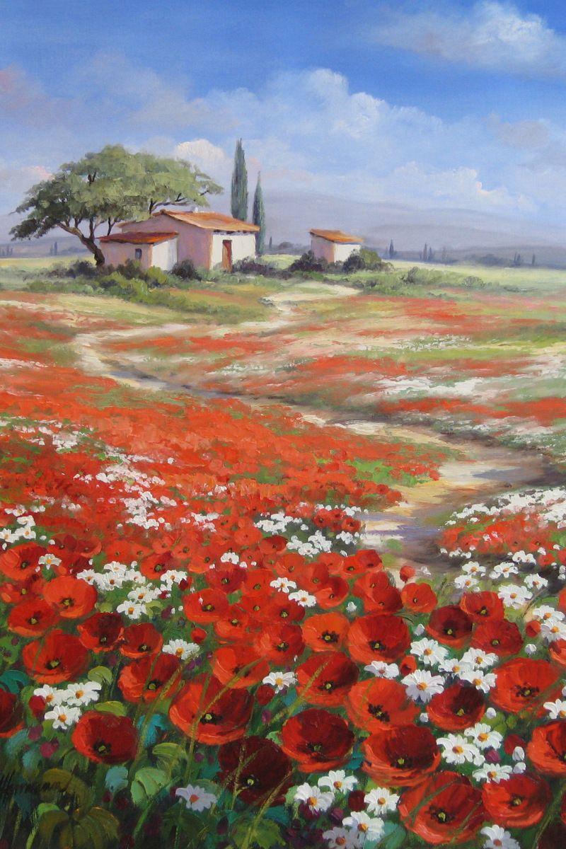 Mohnwiese In Der Provence In 2020 Mohnblumen Kunst Landschaft Gemalde Landschaftsmalerei