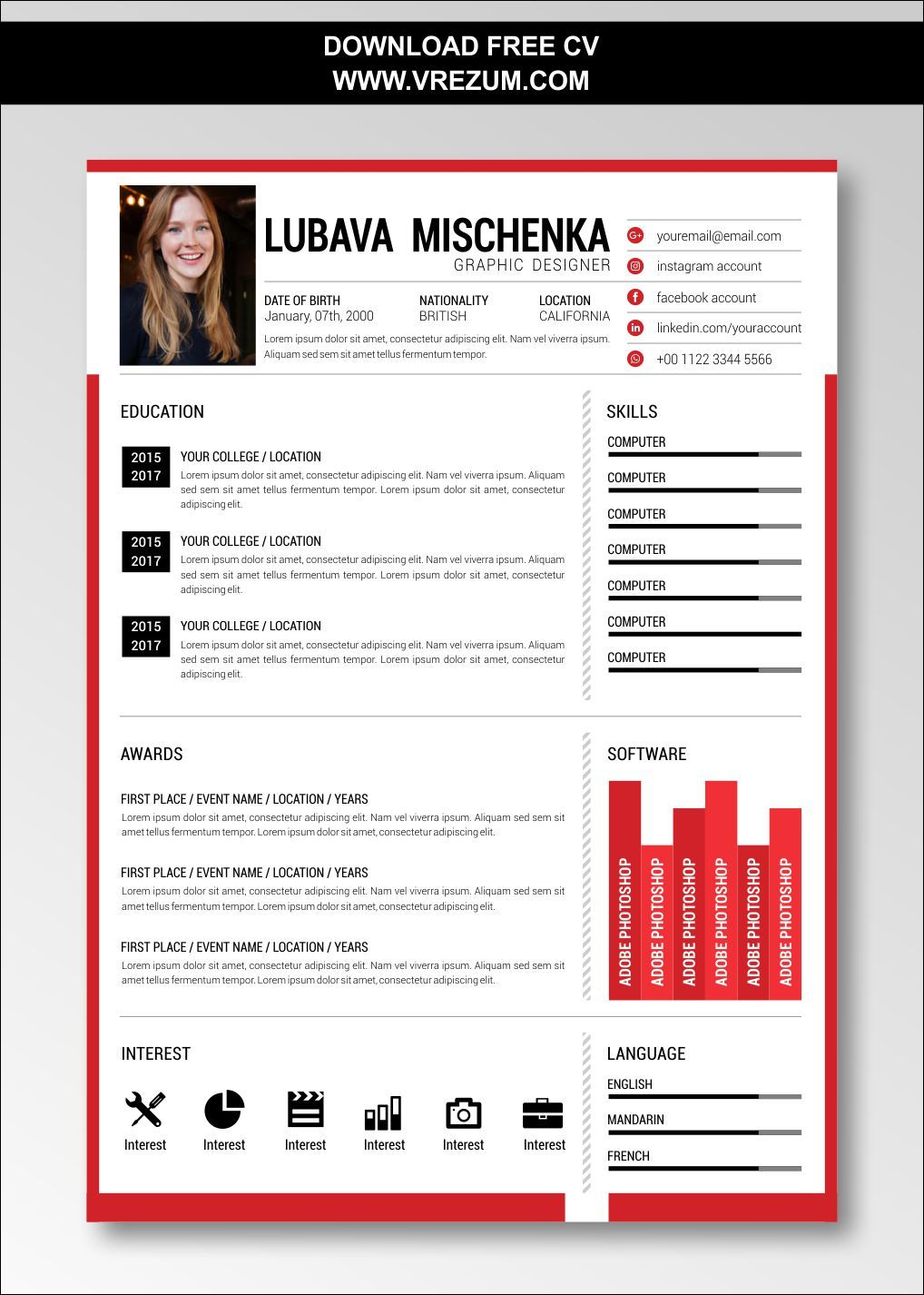 (EDITABLE) FREE CV Templates For Graduate Application in
