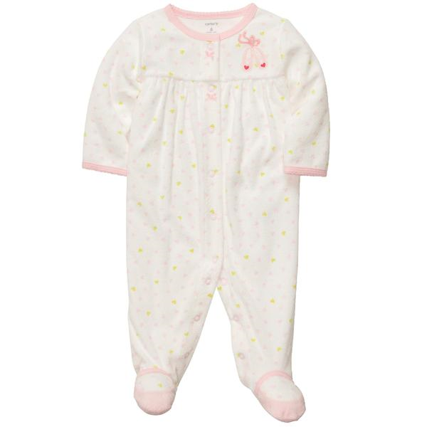Sears Baby Clothes Carter's Newborn Girl's Terry Sleeper  Ballet Slippers  Sears $8