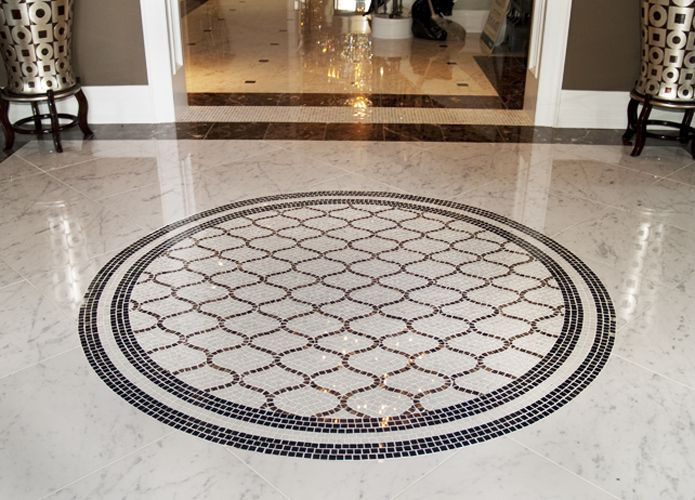marble tile and mosaic foyer - Foyer Tile Design Ideas