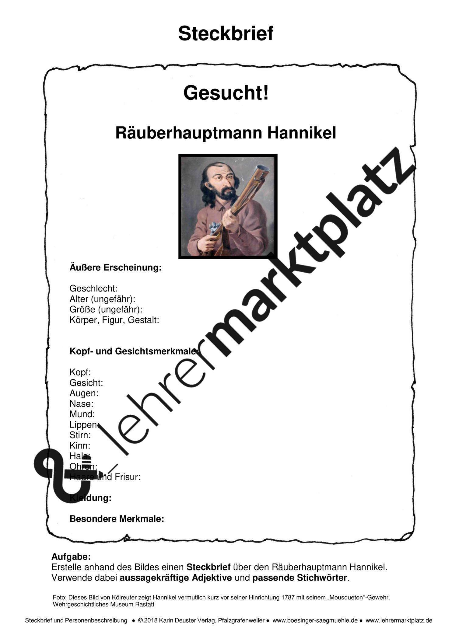 Steckbrief Und Personenbeschreibung Der Historische Rauber Hannikel Aus Dem Schwarzwald Unterrichtsmaterial Im Fach Deutsch Personenbeschreibung Steckbrief Rauber