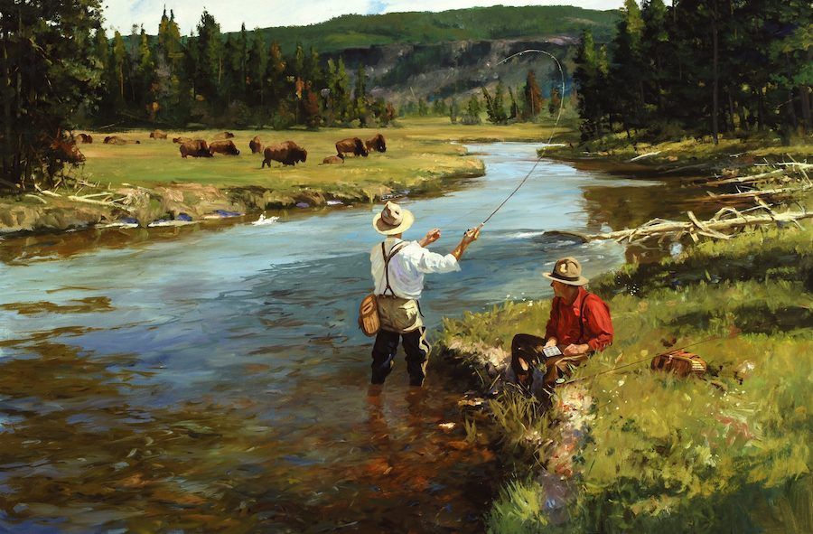 Fishermen In Yellowstone Fly Fishing Painting By Brett James Smith Fly Fishing Art Fish Painting Fly Fishing