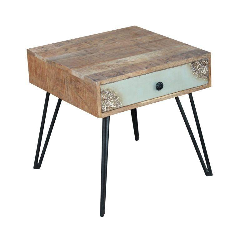 Table de chevet manguier fusion 1 tiroir 55x55x55 Table de chevet style industriel