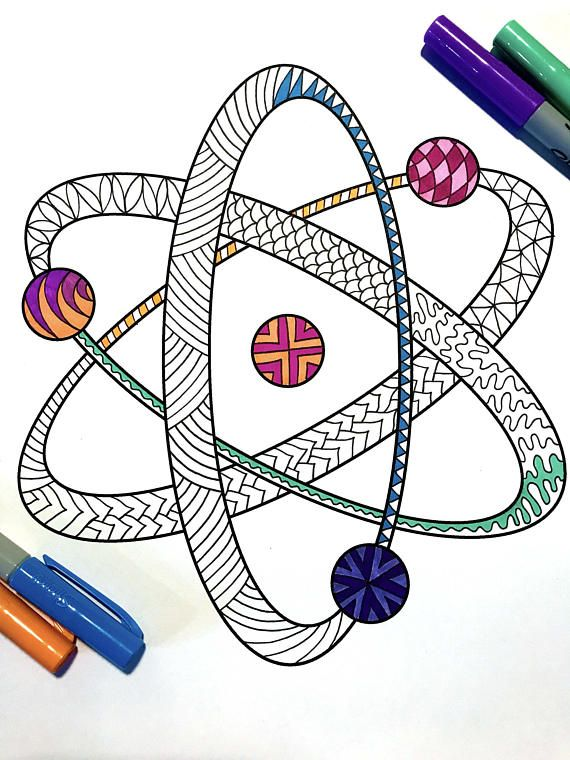 Atom - PDF Zentangle Coloring Page Doodles, Mandala and Drawings - new coloring pages about science