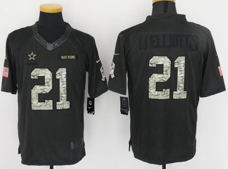 new arrival a980f abc31 Dallas Cowboys 21# Elliott black Salute TO Service Jersey ...