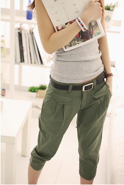 Korean Summer Casual Capris Trousers Loose Harem Pants Army Green ...