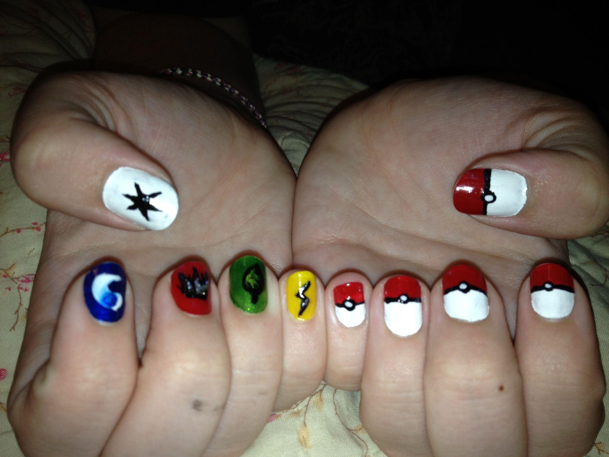 Pokemon nails I did myself, left hand pokeballs, right hand Pokemon ...
