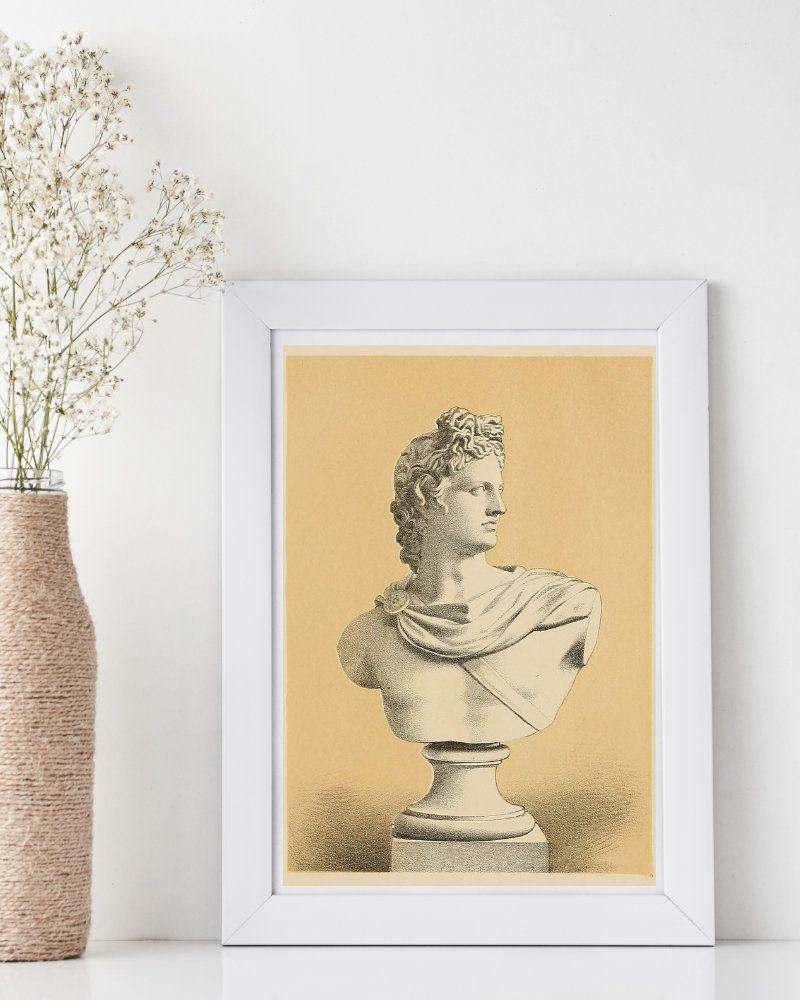 Apollo Bust Print Ancient Greek God Mythology Wall Art For Etsy In 2021 Ancient Greek Gods Greek Mythology Gods Greek And Roman Mythology