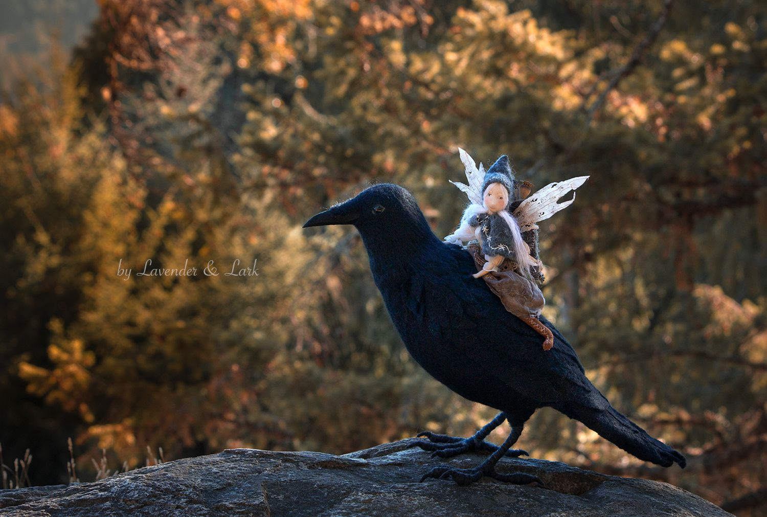 Download Isolde & the Raven by Lavender & Lark ~ Needle Felted Raven and art doll   Doll scenes, Soft ...